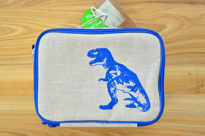 So Young Linen Insulated Dinosaur Lunch Bag at HWM