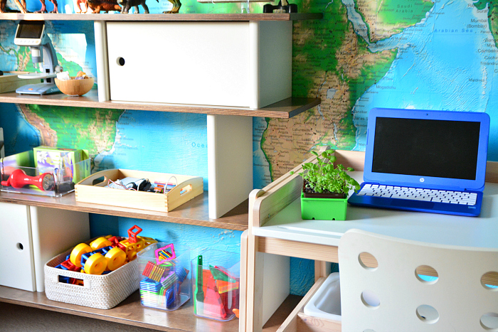 Kids workshelves at How we Montessori  Montessori spaces for older children