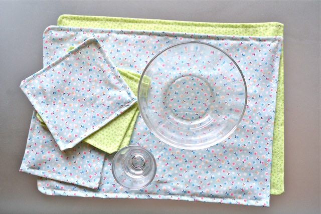 Otis' weaning placemat  napkins  bowl and glass