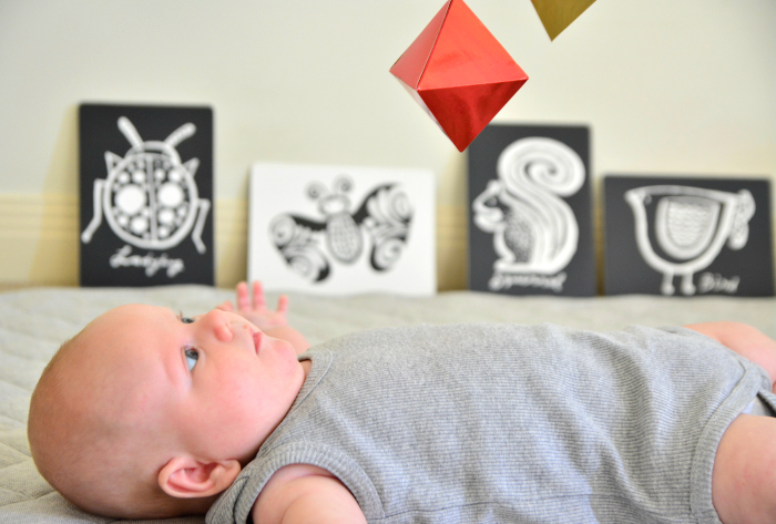 Otto with Octahedron Mobile at Eight Weeks at How we Montessori