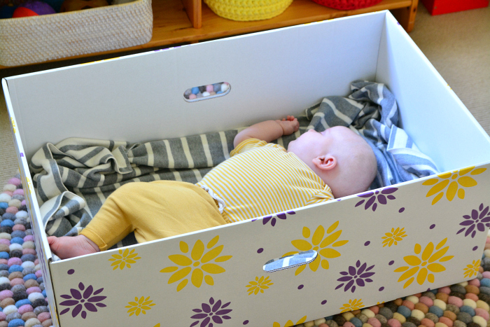 Otto sleeping in Baby in a Box
