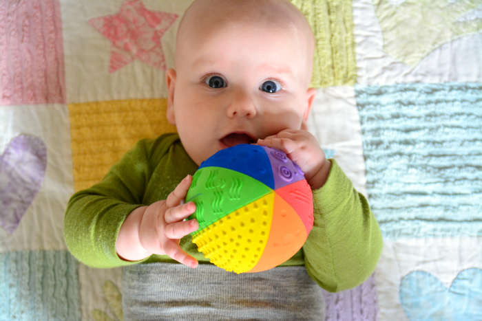 Otto Rubber Sensory Ball at four months