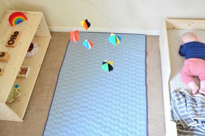 Montessori bedroom at five months  Otto sleeping on Montessori bed