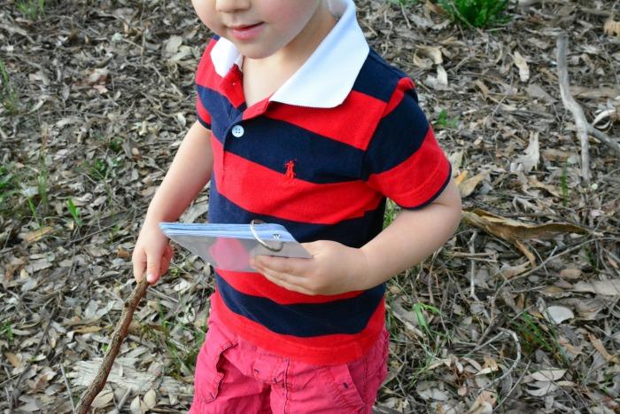 Otis takes his bark book on an nature walk