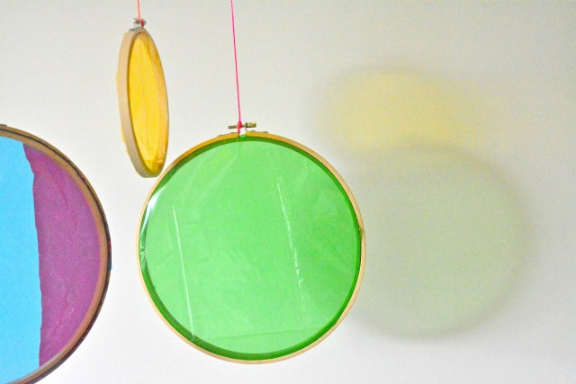 Cellophone on embroidery hoops at How we Montessori