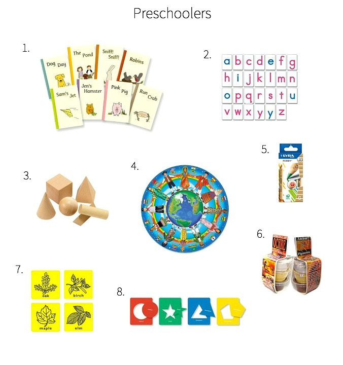 Gift ideas for Montessori Preschoolers Dec 2014 Three Years +