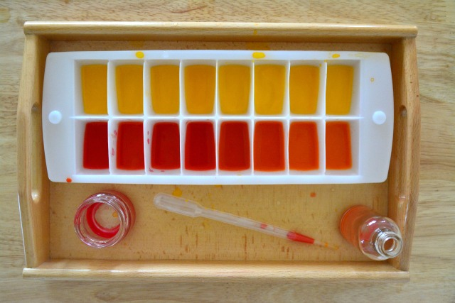 Otis water transferring with pipette turned colour mixing