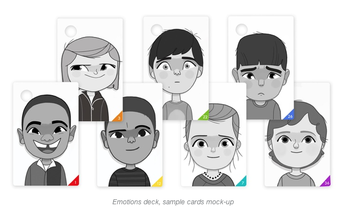 Children's Wallet Cards Emotions - illustrations