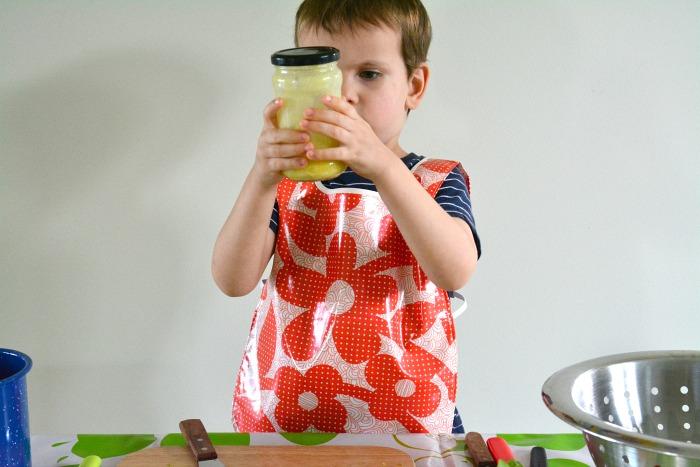 Otis making salad dressing in a jar May 2015