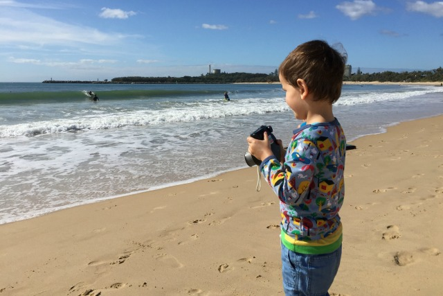 Otis taking pictures of the surfers June 2015 long weekend
