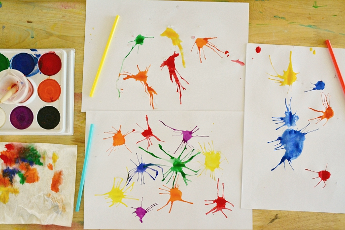 Straw art with Tempera paint at How we Montessori