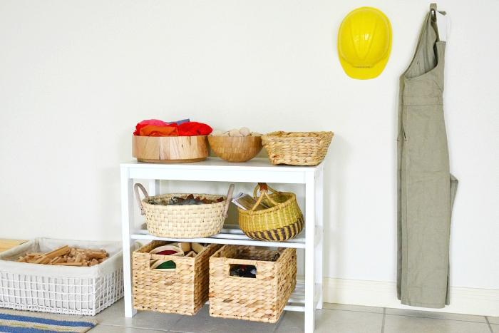 Block play at How we Montessori Shelves