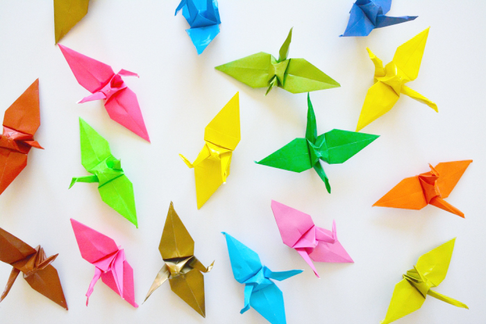 Paper Cranes at How we Motessori Peace on Earth August 31 2015