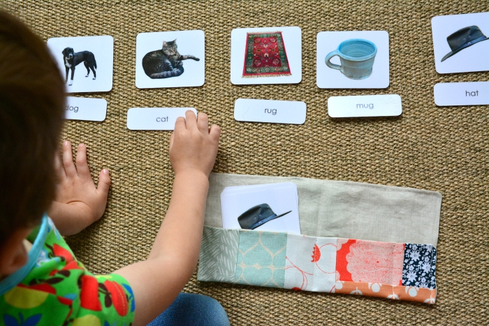 Otis using phonetic three part cards at How we Montessori #2