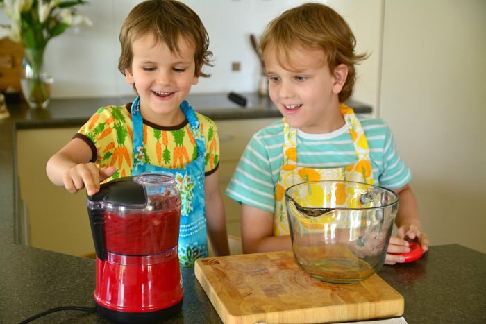 Caspar and Otis cooking in kitchen