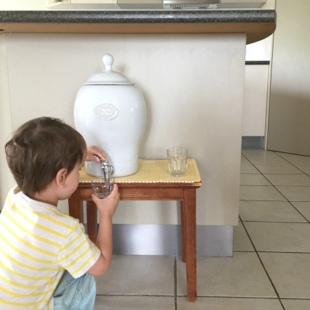Otis drinking station at low table at How we Montessori