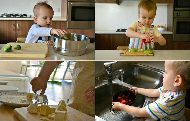 Toddlers in the kitchen at How we Montessori
