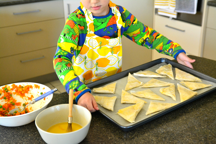 Otis made vegetable samosa at How we Montessori