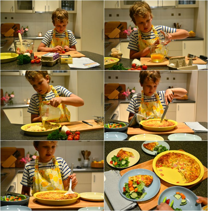 Caspar makes dinner, quiche and salad, independently at How we Montessori