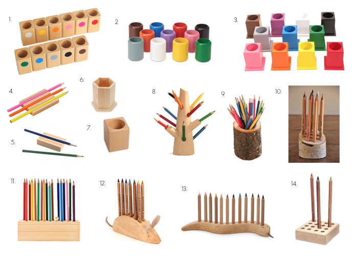 Wood Pencil Holders - Montessori and Waldorf