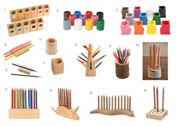 Wood Pencil Holders   Montessori And Waldorf