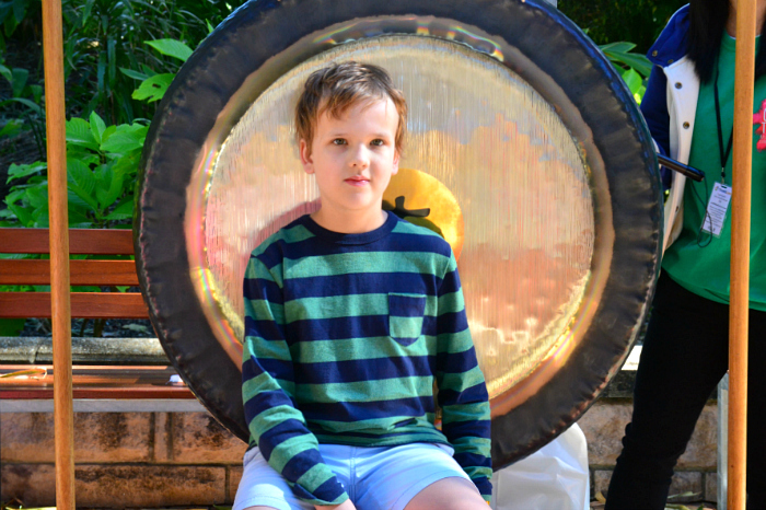 Caspar with Gong in Gong Garden at Out of the Box Festival