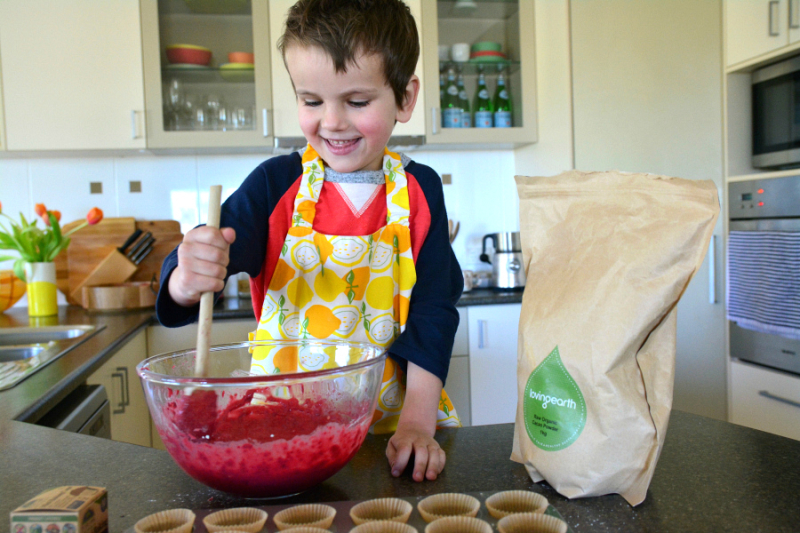 Otis making beetroot muffins at HWM