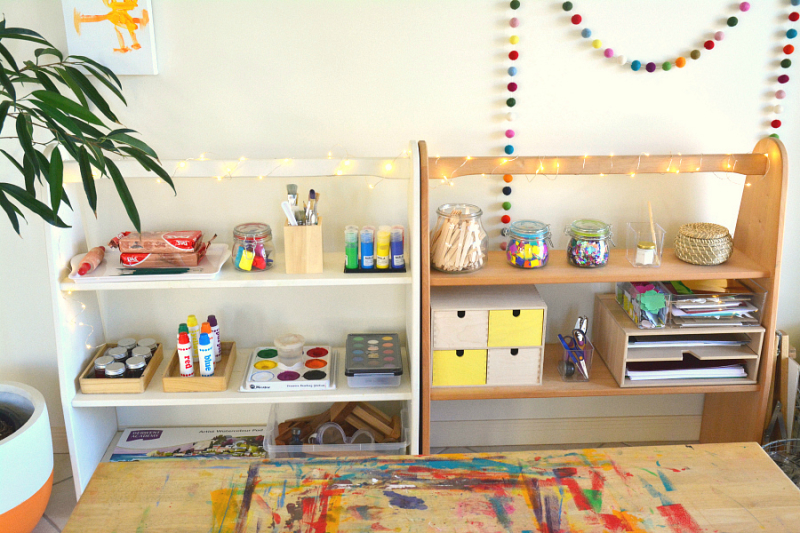 How we Montessori Art Shelves Update