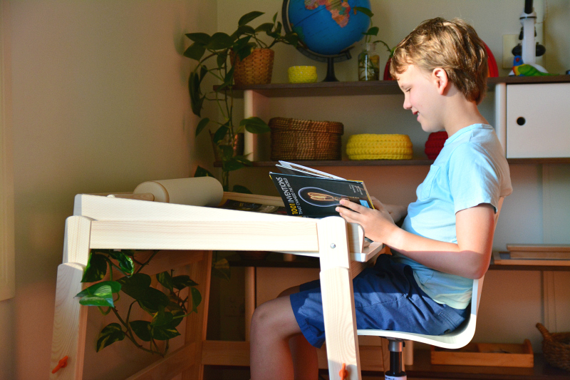 Caspar using the IKEA FLISAT Children's adjustable desk