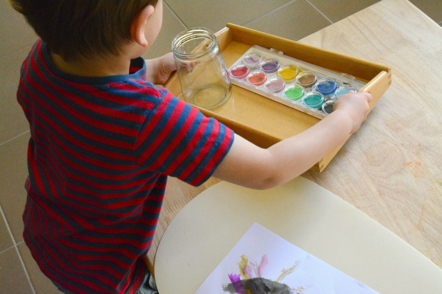 Montessori Toddler - Art on a Tray, Otis painting