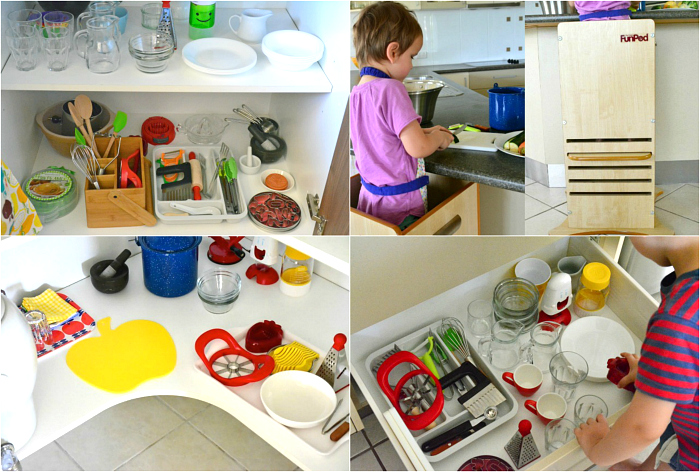 Montessori Kitchen areas from three years at How we Montessori