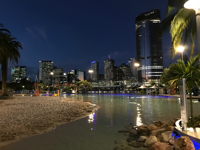 Southbank Beach at night - places to visit in Brisbane