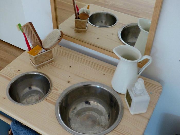 Montessori Home Care of Self Area handwashing stand