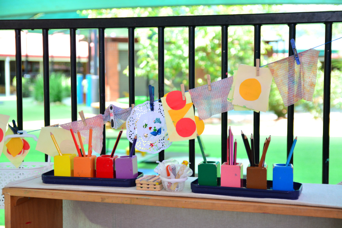 Art area in 18month-3 year class at IMCH