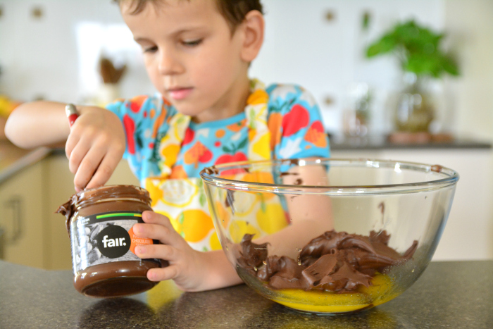 Otis making hazelnut brownie - Ethical Christmas with Oxfam #1