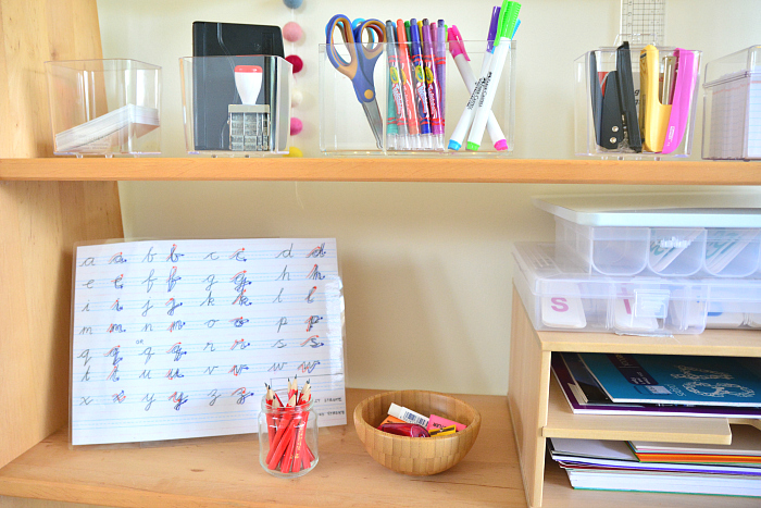 How we Montessori - Writing Materials on Shelves