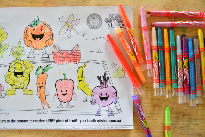 Otis, colouring sheet for piece of fruit at How we Montessori