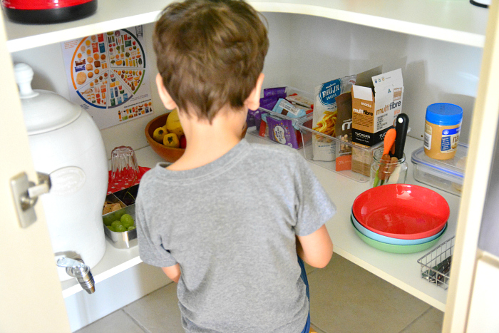 Children's shelves in the pantry