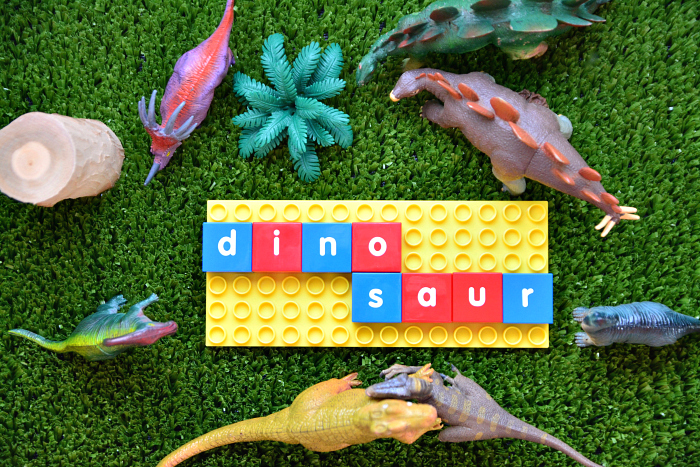 Literacy Blocks at How we Montessori - dinosaur