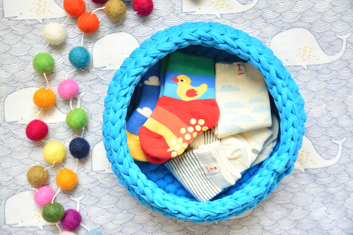 Crochet baby sock basket at HWM