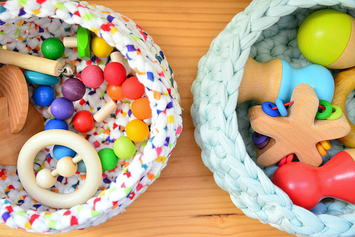Crochet baskets at How we Montessori  infant shelves