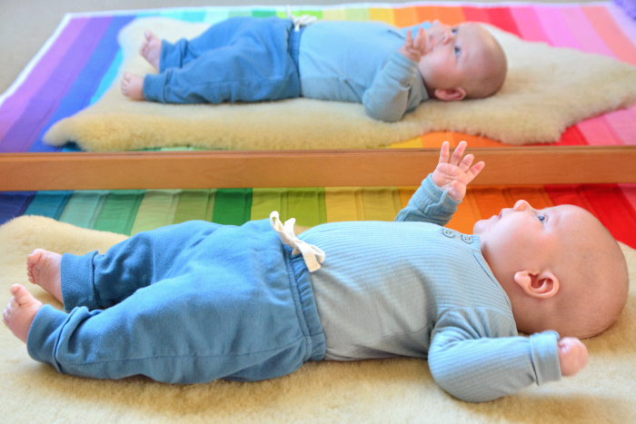 Otto on movement mat at eight weeks