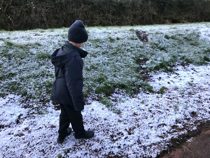 Otis walking to school at HWM Uk winter