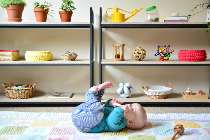 Otto at four months  infant shelves at How we Montessori UK