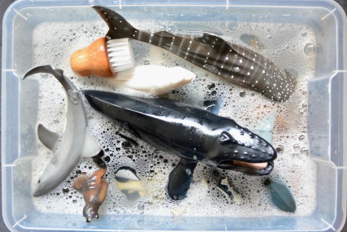 How we Montessori  washing Schleich animals
