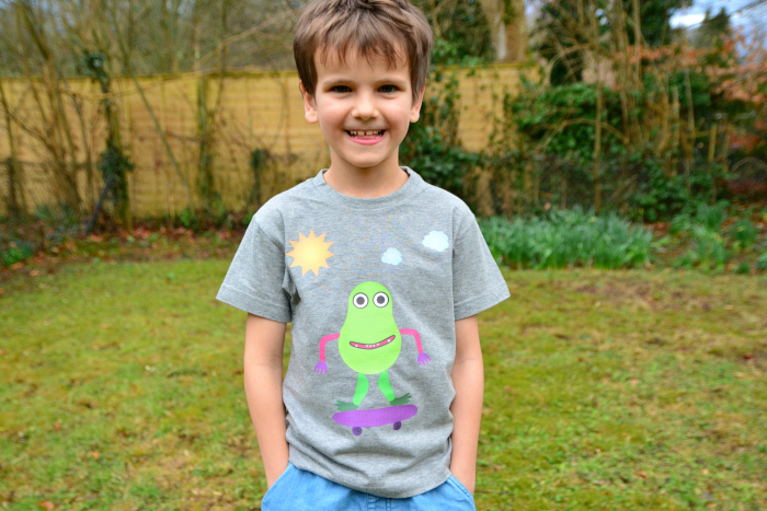 Otis with little monsters DIY tee at How we Montessori