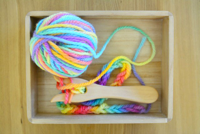 Knitting Fork at How we Montessori in Tray