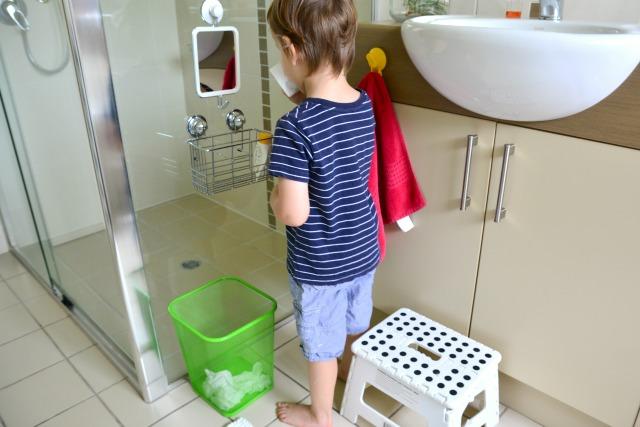 Otis blowing his nose - care of self, Montessori at three years