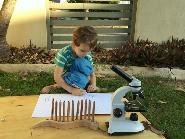 Otis and Caspar working outside with microscope APril 2015