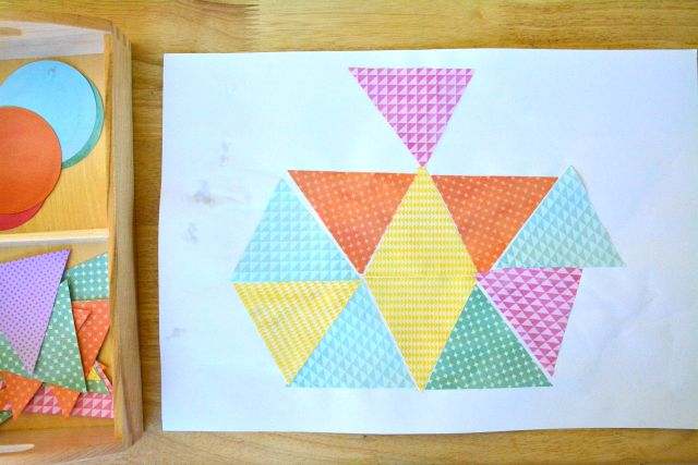 Caspar's Collage with Triangles at How we Montessori